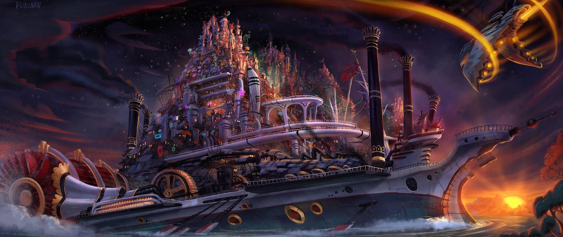 """Concept art du projet """"Kung Fu Space Western"""" par Paul Sullivan"""